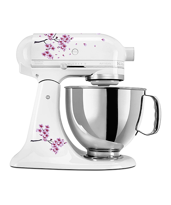 Sakura Blossoms Mixer Decal Set Sakura Blossoms Mixer Decal Set. Customize your kitchen experience with this set of decals designed to enliven the look of your standing mixer. Mixer not includedFits 4-qt. mixersSheet: 8.5'' W x 11'' H x 0.5'' DAdhesive vinyl
