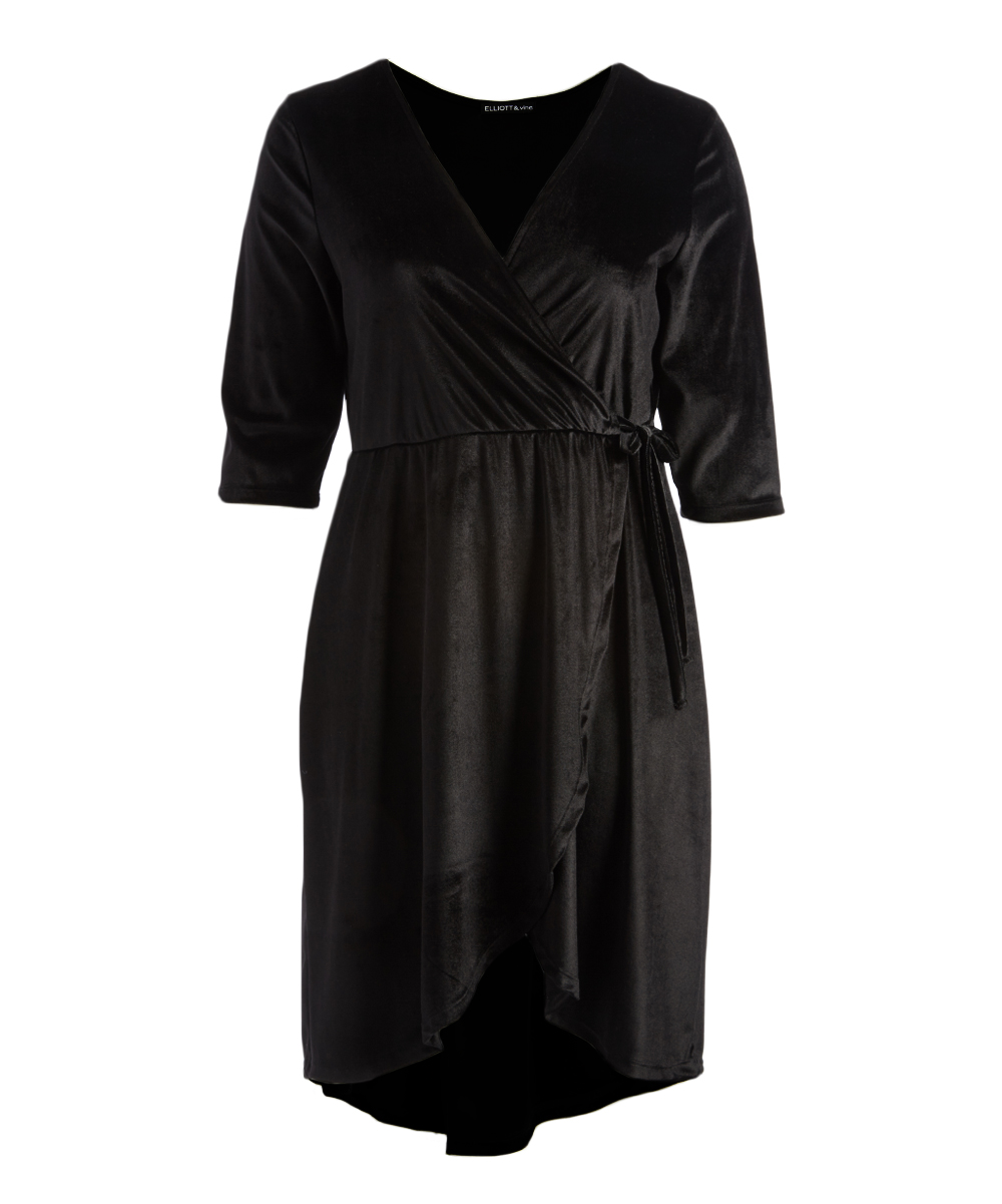 ddf5359d30337 Attitude Unknown Black Velvet Wrap Dress - Plus