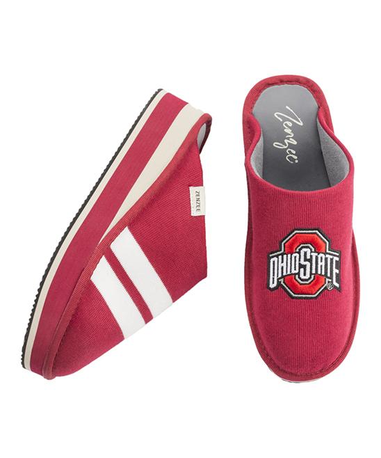 1a6bc463479e55 ... Womens Red   White Ohio State Buckeyes Knit Kicks Slippers - Alternate  Image ...