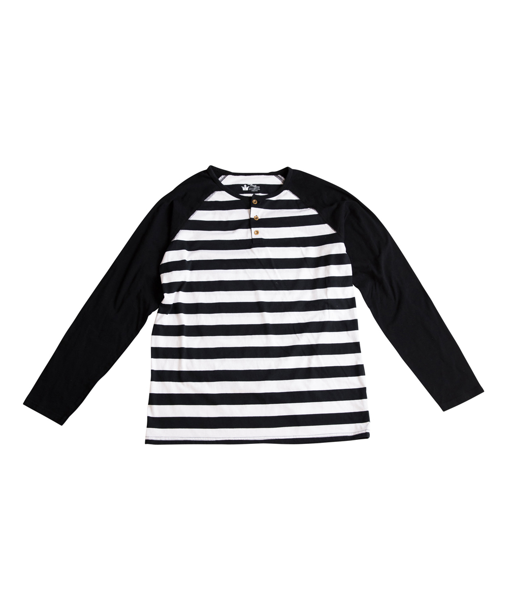 Black & White Stripe Raglan Henley - Mens Regular Black & White Stripe Raglan Henley - Mens Regular. Bedecked with handsome buttons and timeless stripes, this cotton henley is a must-have basic for his wardrobe. 100% cottonMachine wash; tumble dryImported