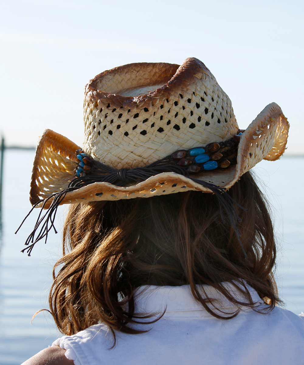 1340546c4cdfcc ... Womens Natural w/Turquoise Stone Natural & Blue Embellished Cowboy Hat  - Alternate Image ...