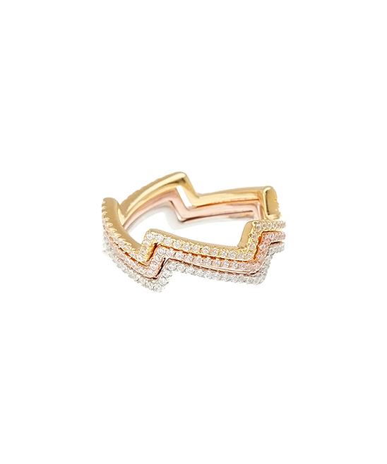 87ea250be6aed Adornia Tri-Tone Zigzag Stacking Ring Set With Swarovski® Crystals