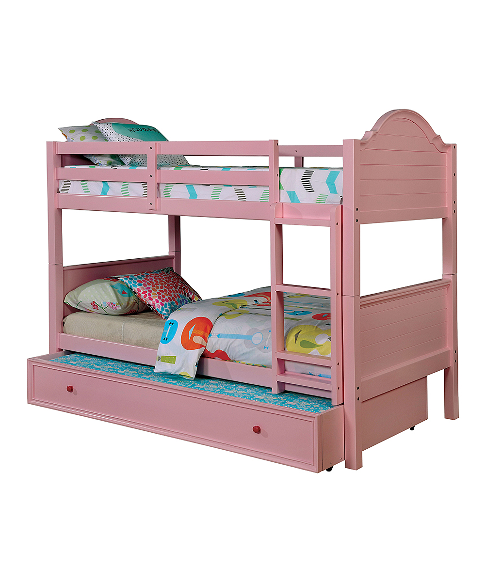 Serendipity Pink Transitional Arched Storage Bunk Bed  eb4feb9193