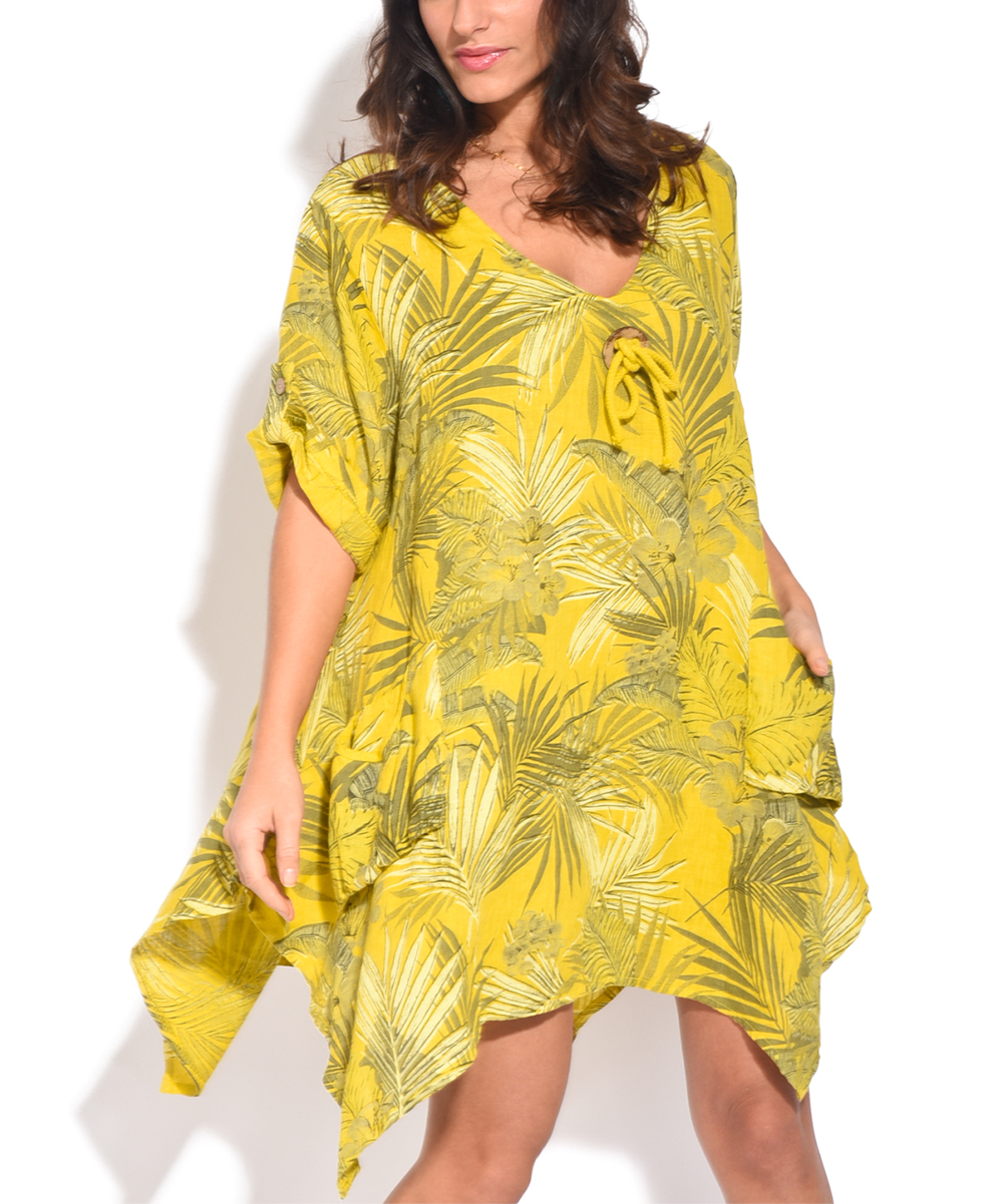 Exceptionnel Love This Product Green Palm Leaf Side Pocket Linen V Neck Dress   Women U0026  Plus