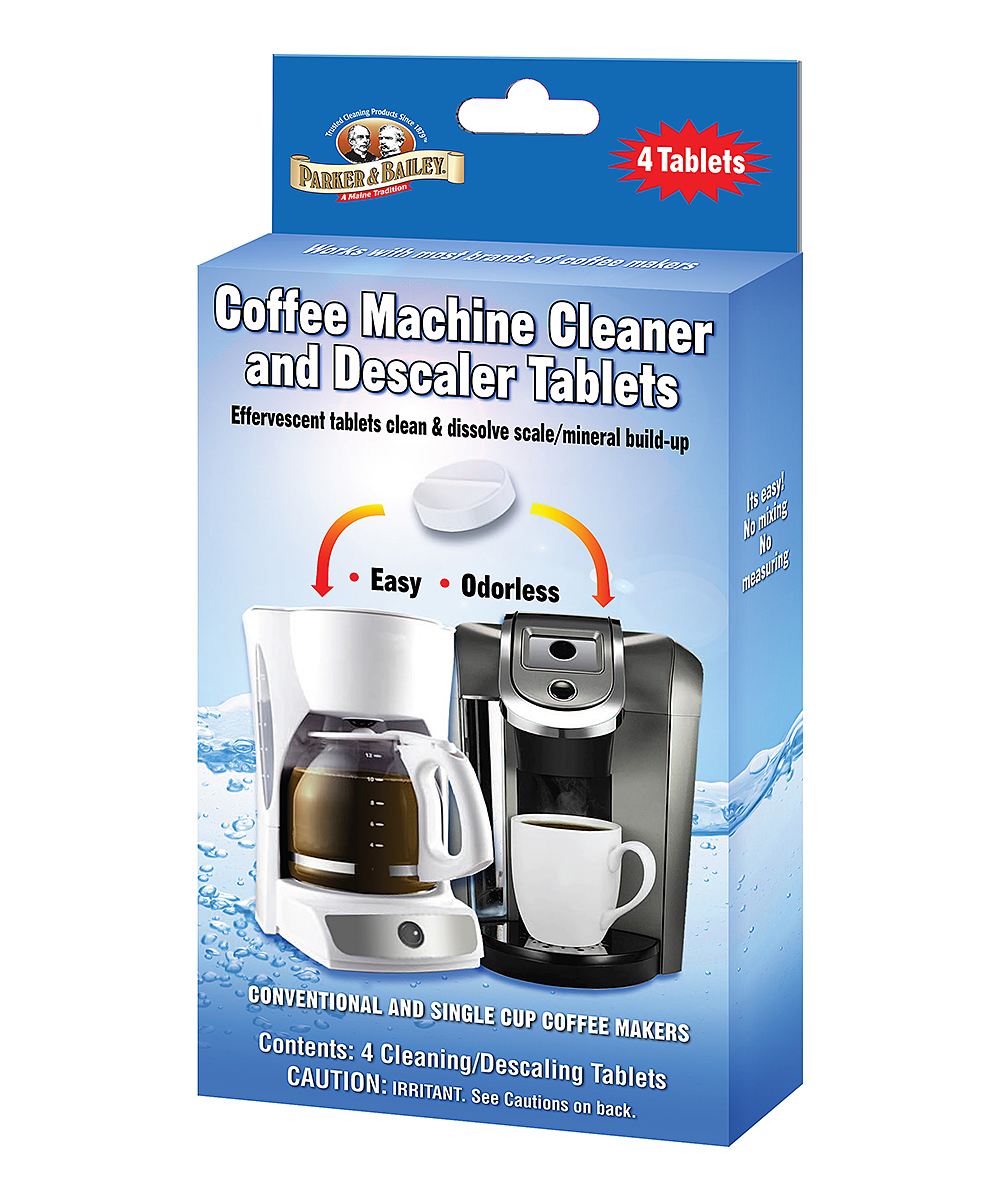 Parker & Bailey  Cleaning Solutions  - Coffee Machine Cleaner & Descaler Tablet Coffee Machine Cleaner & Descaler Tablet. These effervescent tablets clean your coffee machine by removing scale and mineral build-up. Includes four tablets