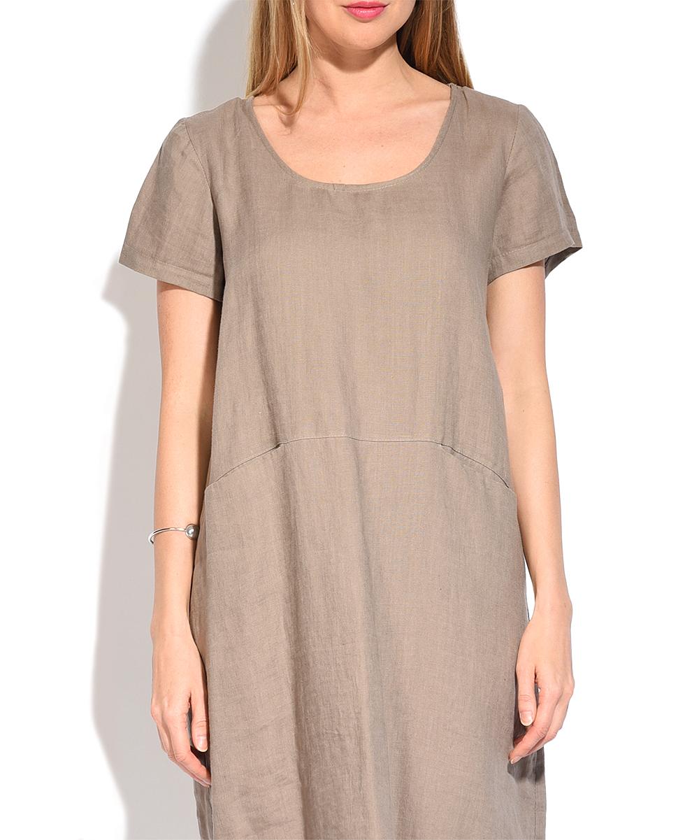 578de5a5c15 ... Womens BEIGE Beige Linen Scoop Neck Pocket Shift Dress - Alternate  Image 3