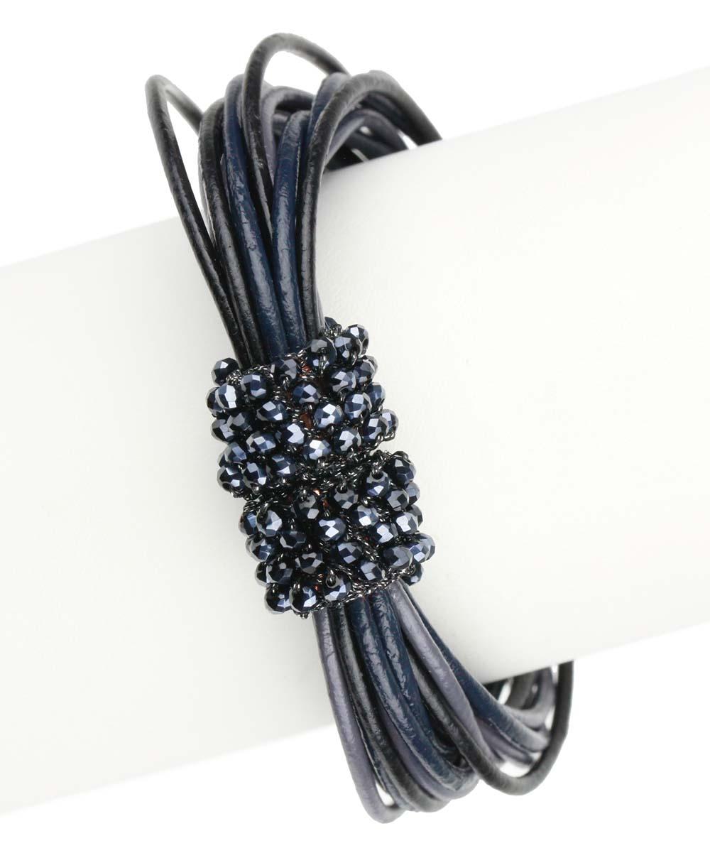 SAACHI Style Black & Gray Din Leather Bracelet