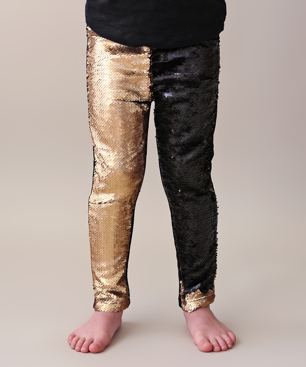 6c0226a4aec301 love this product Black & Gold Reversible Sequin Slim-Fit Leggings -  Toddler & Girls