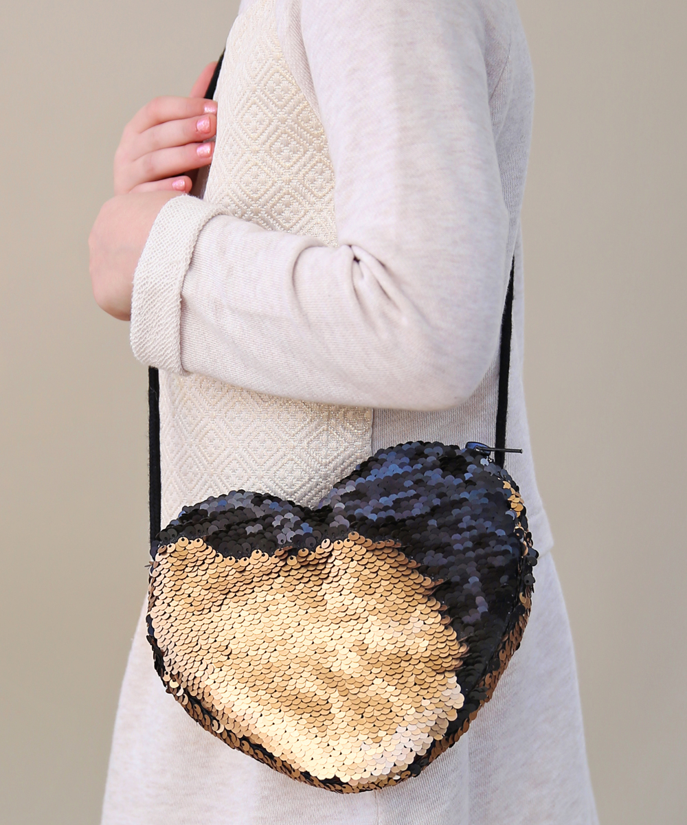 ea013d266d Whitney Elizabeth Black   Gold Reversible Sequin Heart Crossbody Bag ...