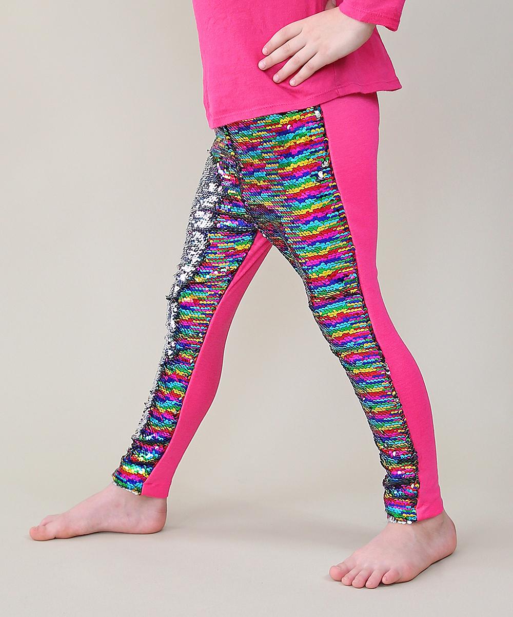 7a9319ed ... Girls rainbow Rainbow & Silver Reversible Sequin Slim-Fit Leggings -  Alternate Image ...