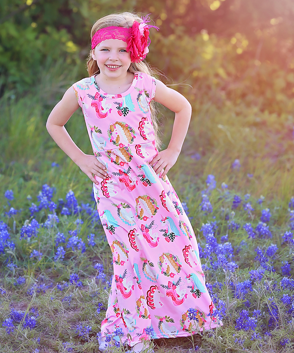 39f1bb62556d Whitney Elizabeth Pink Unicorn Maxi Dress - Toddler   Girls