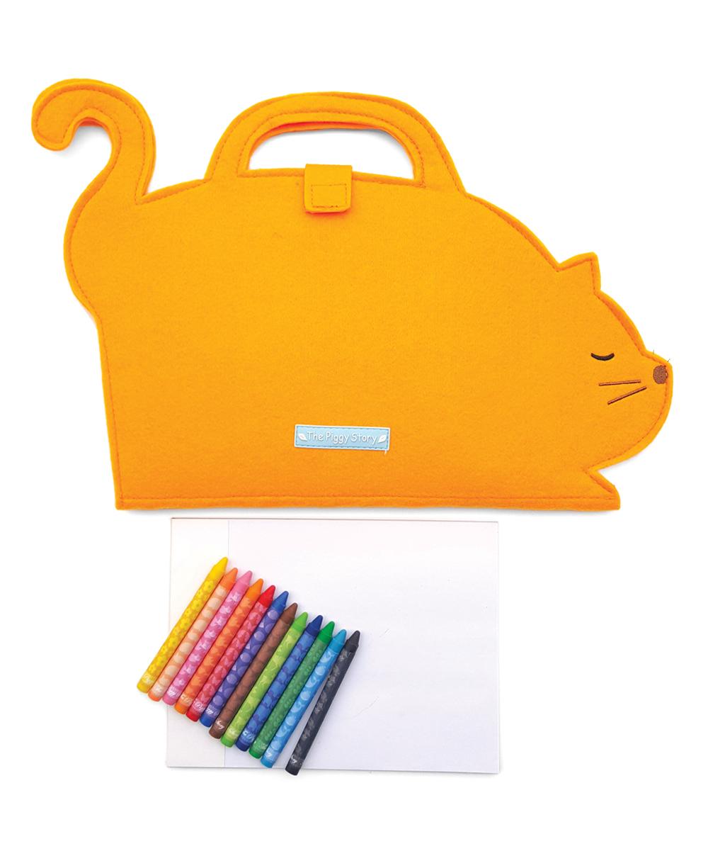 The Piggy Story Kitty Cat Die-Cut Felt ArtFolio & Crayons Set