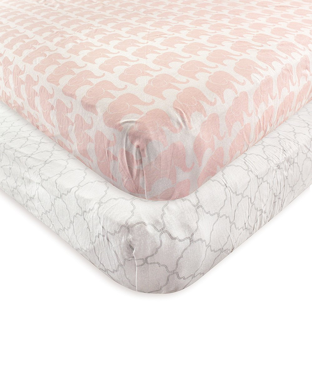 Hudson Baby Girls' Crib Sheets Elephant - Pink & White Elephant Fitted Crib Sheet - Set of Two
