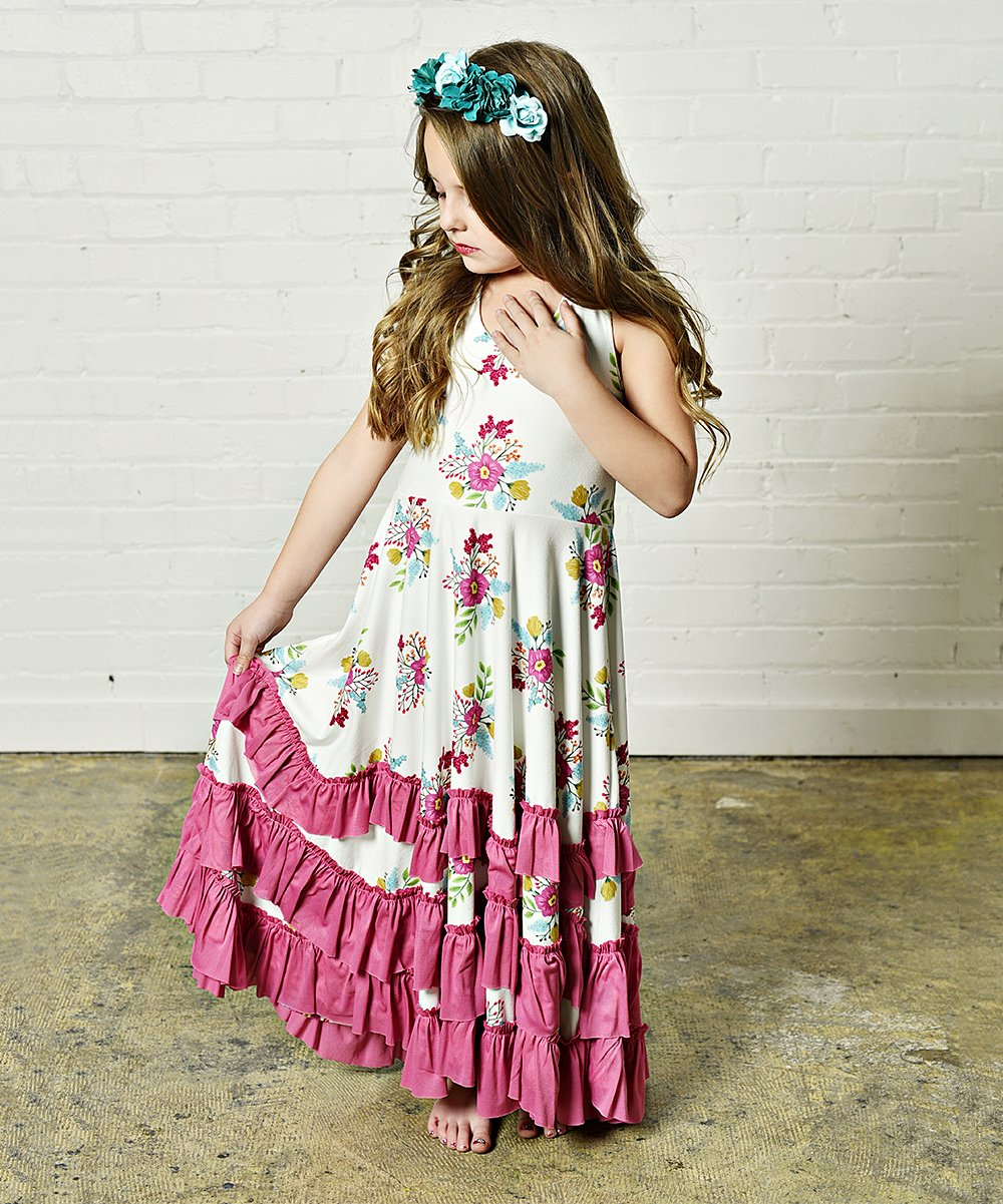 8a6e197f5 Oopsie Daisy Purple Floral Ruffle Maxi Dress - Girls