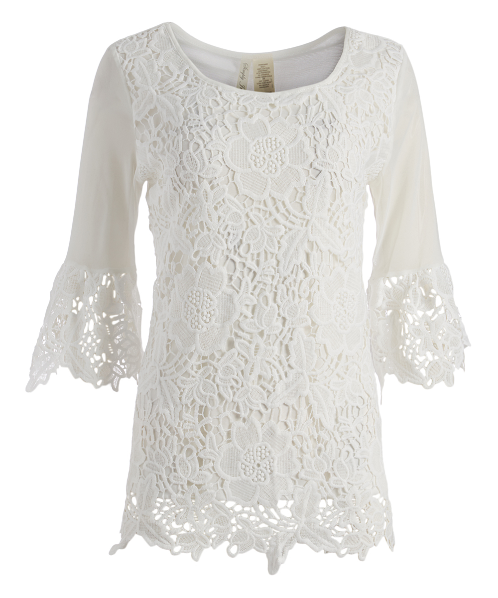 3ab3dadffc8 Simply Irresistible White Lace Bell-Sleeve Tunic - Women