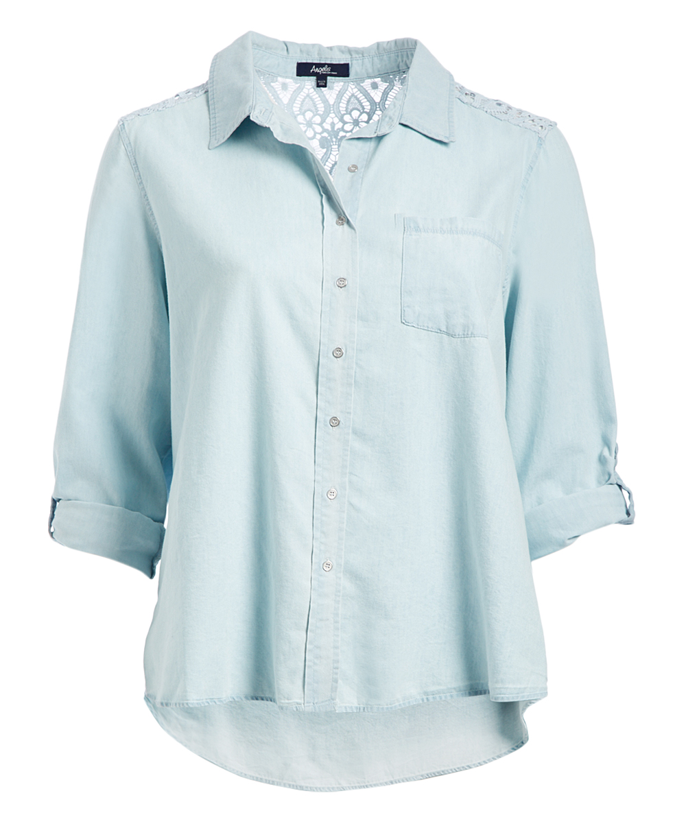 d0dc6f532eb Angels Chambray Back Lace-Yoke Button-Front Top - Plus
