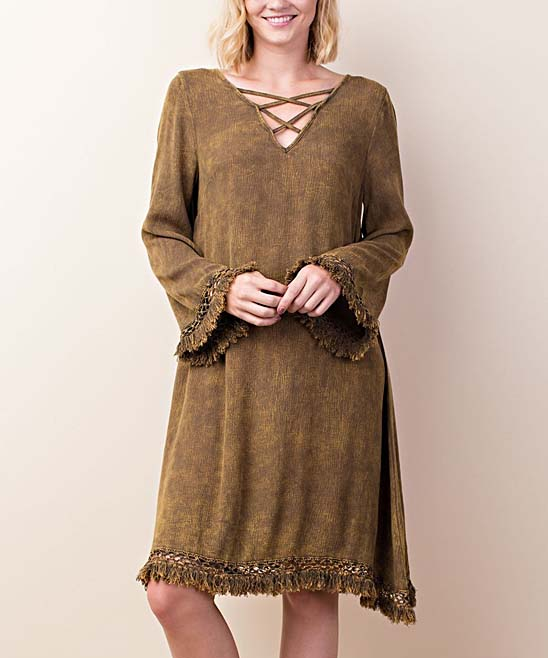 9e7ac306377 ... Womens OLIVE Olive Fringe-Trim Crisscross V-Neck Dress - Alternate  Image 4