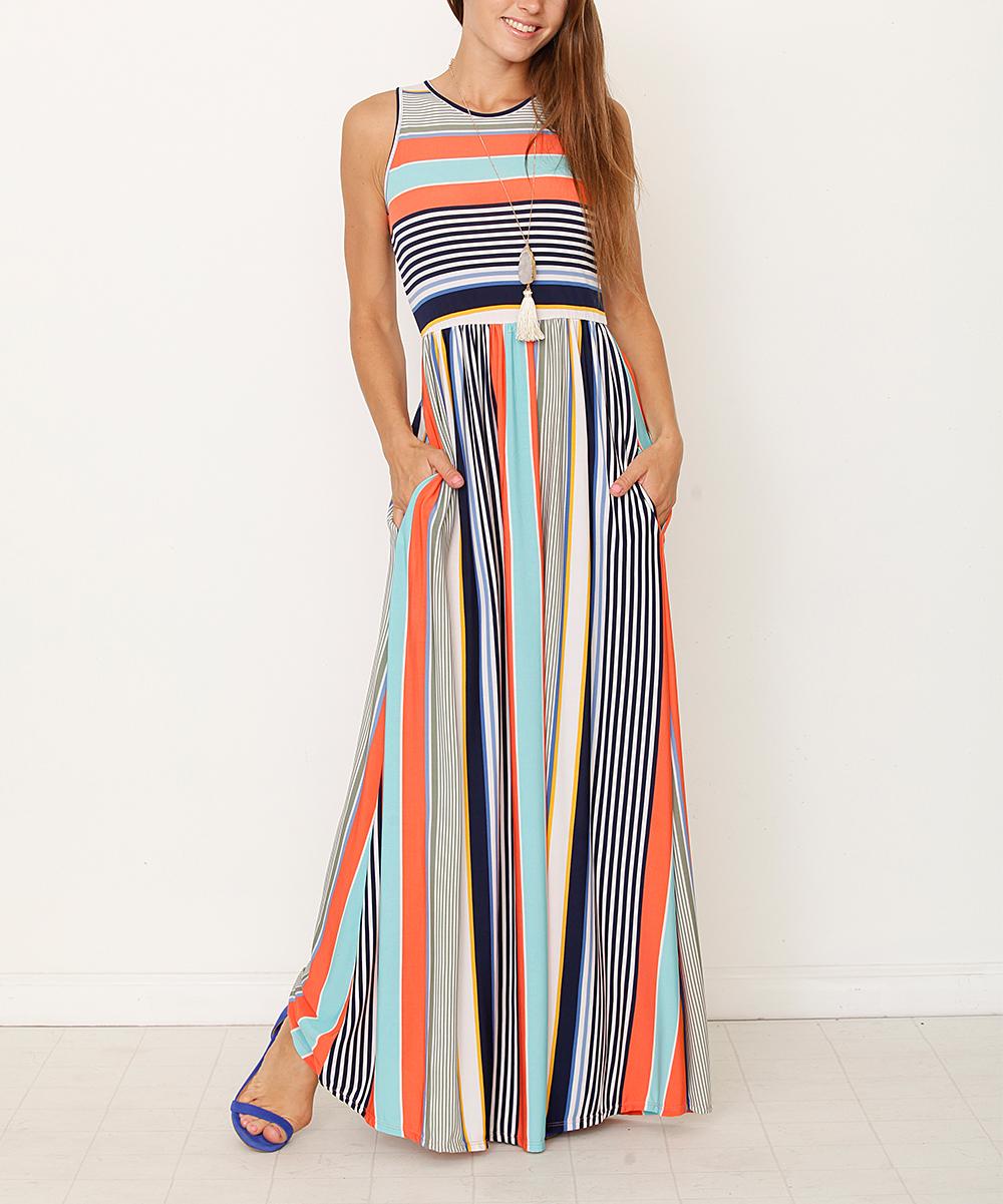 egs by éloges Coral   Mint Stripe Maxi Dress - Women   Plus  45b9c1159