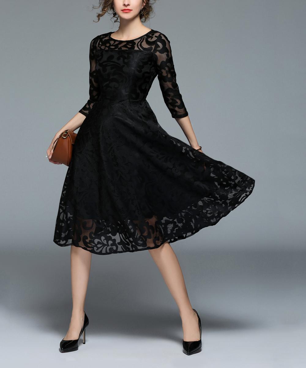 15c25c61ebf Black Lace Three-Quarter Sleeve Fit   Flare Dress - Women - Coeur de Vague  - Zulily