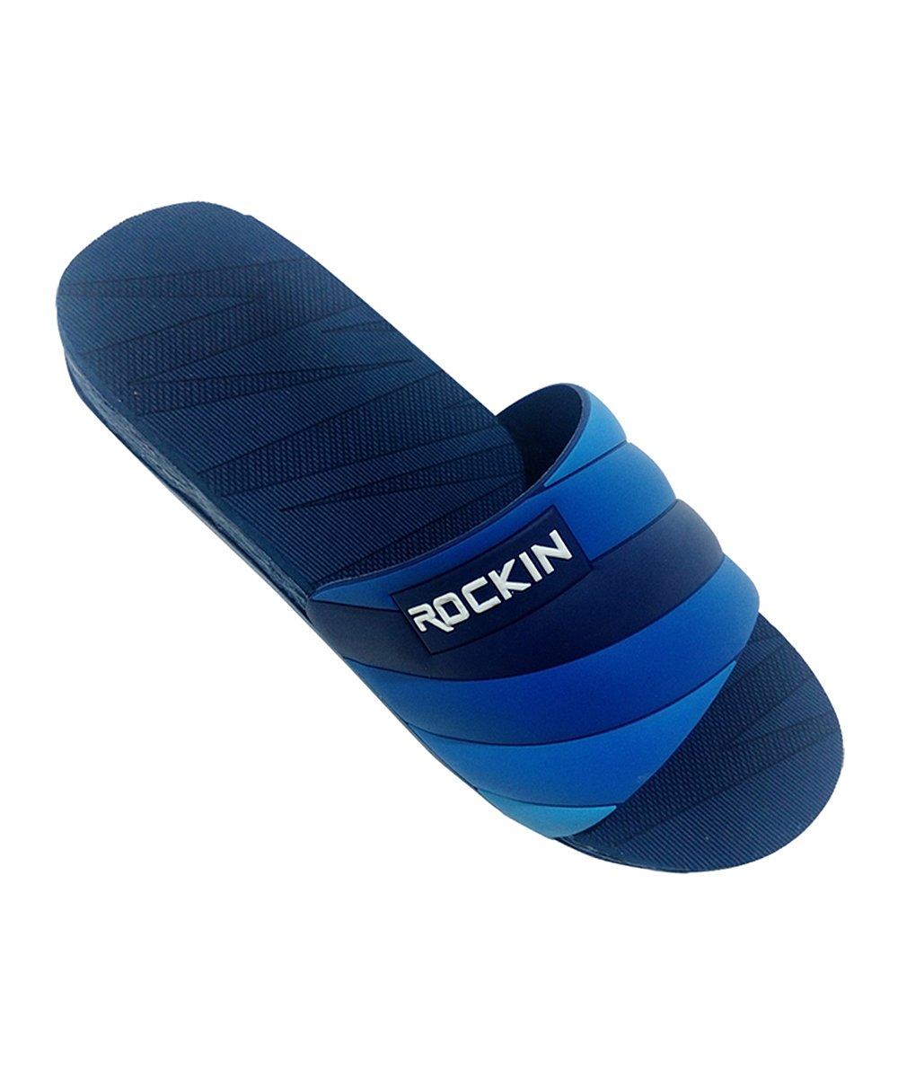 Navy Layered Stripe Slide - Men Navy Layered Stripe Slide - Men. He'll appreciate the convenient ability to slip on these comfortable slides and head out the door. A stripe accent adds visual interest. EVA / TPUImported