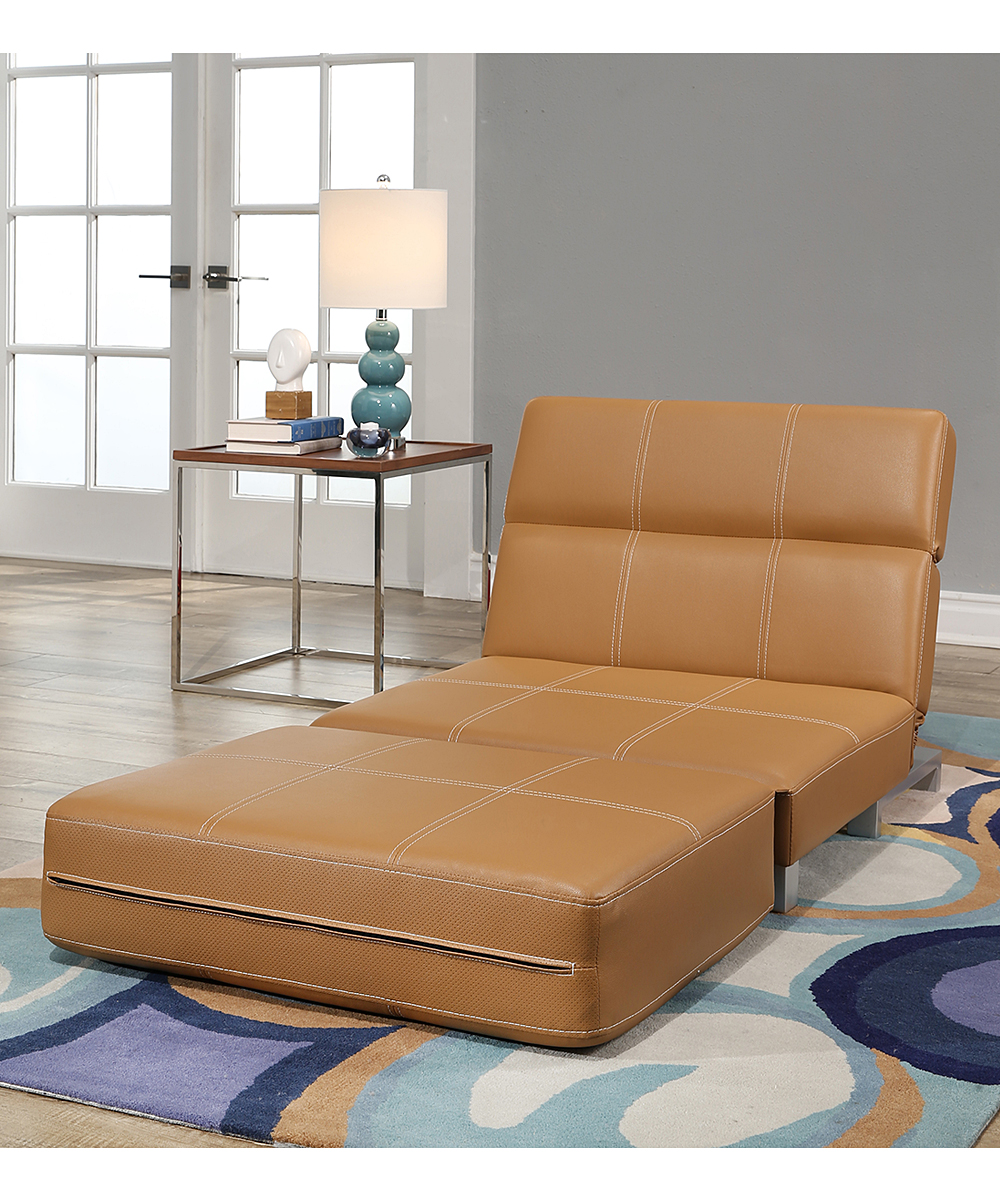 Camel Hammond Faux Leather Convertible Futon Chair Alternate Image 3