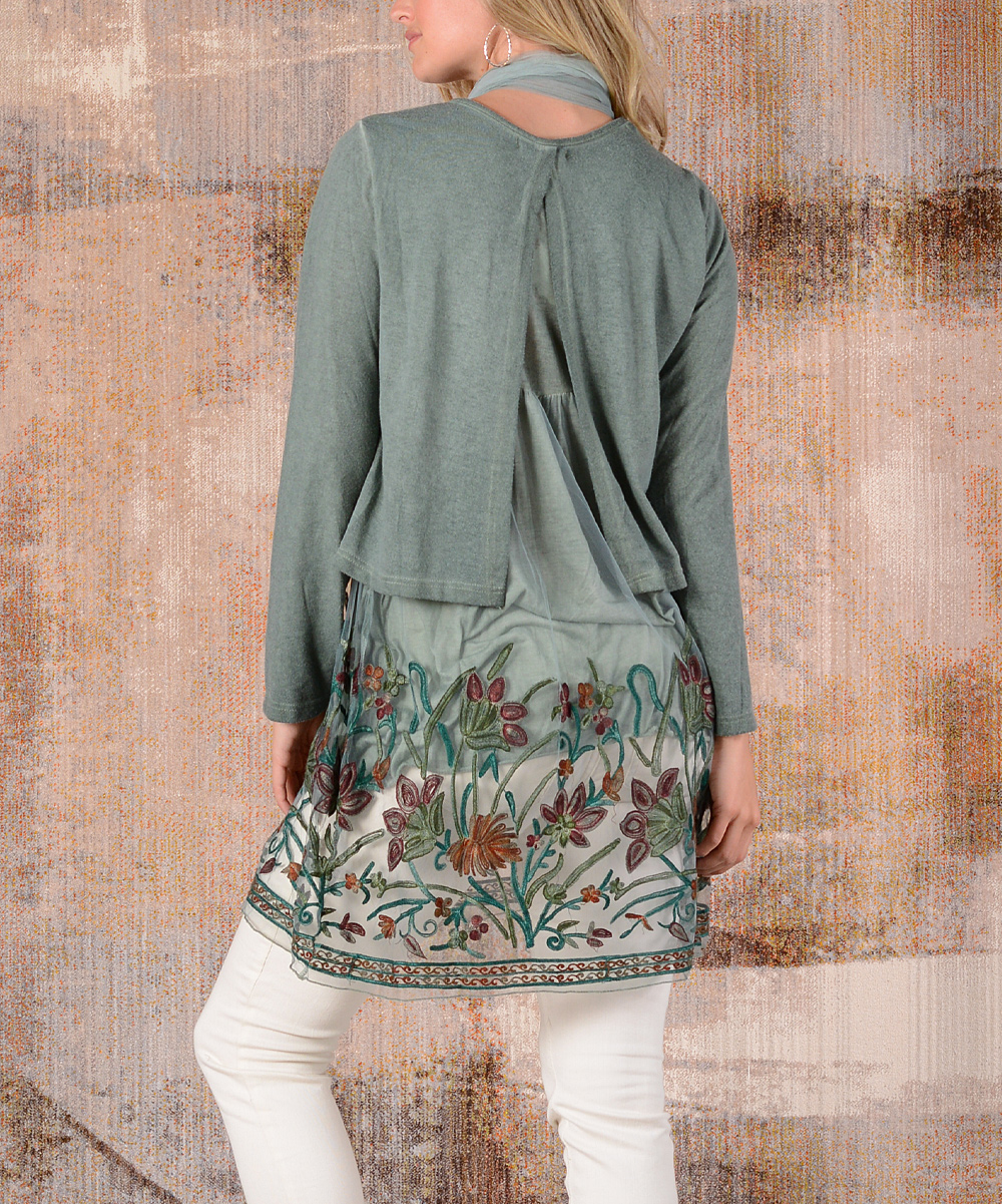 69454173cdb ... Womens GREEN Green Floral-Embroidery Layered Tunic Dress & Scarf -  Alternate Image 3