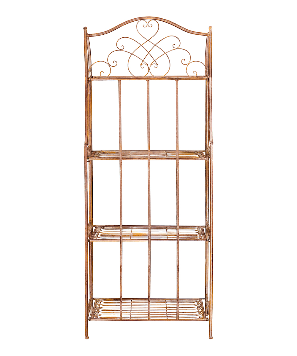 Orange Amaris Wrought Iron Four-Tier Outdoor Bakers Rack