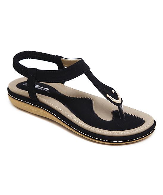 Black T-Strap Sandal - Women