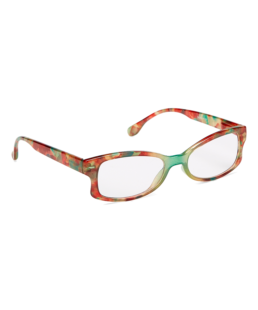 Art Wear Women's Reading Glasses Red - Red Floral Square Readers
