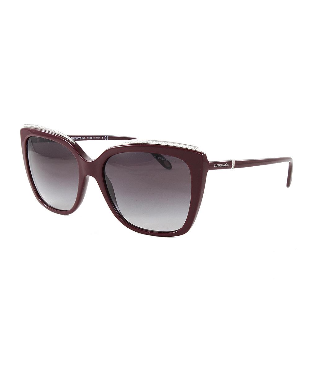 db72a5e70ca Tiffany   Co. Dark Cherry   Gray Gradient Cat-Eye Sunglasses