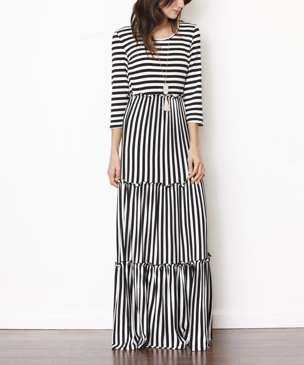 Egs By Eloges Black White Stripe Maxi Dress Women