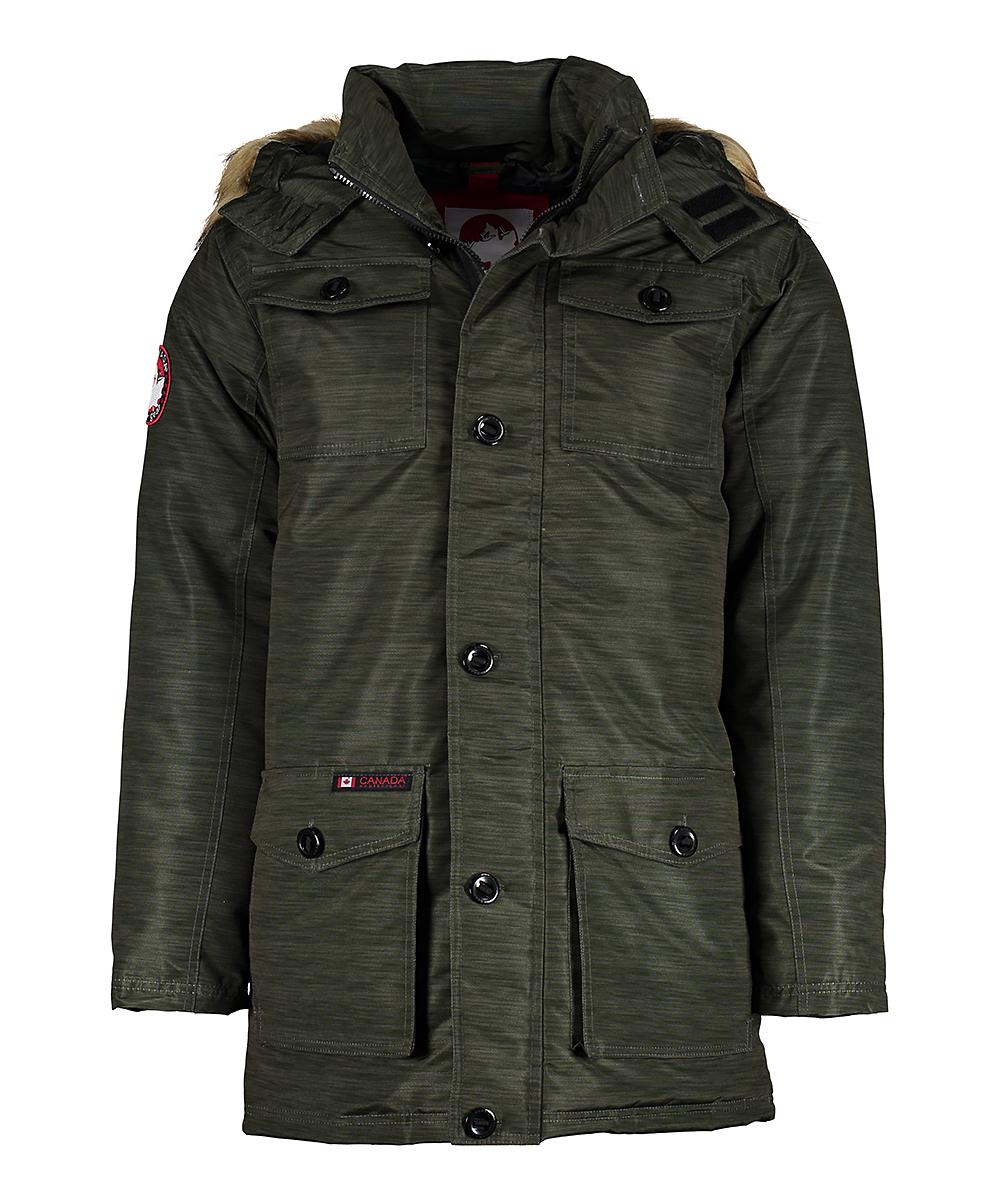 451b2106abb Canada Weather Gear Dark Olive Heather Faux Fur-Trim Hooded Parka Jacket -  Men