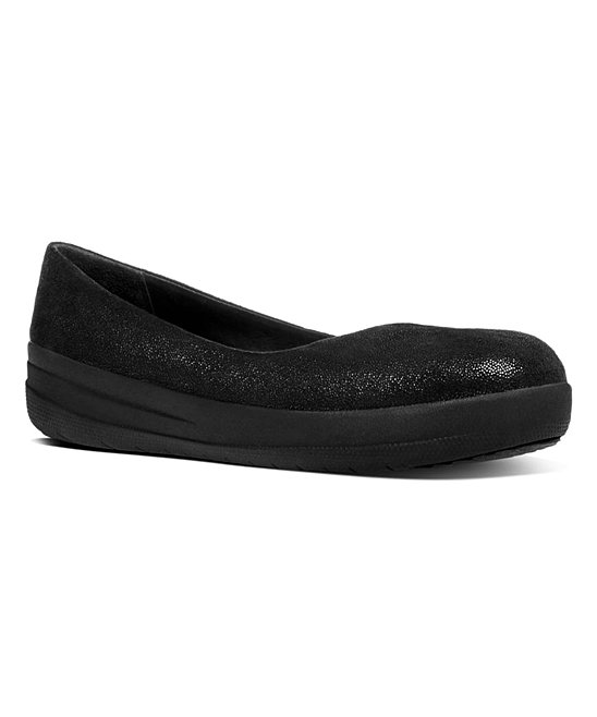 c6e0c86dcc874 FitFlop Black Glimmer F-Sporty Suede Ballerina Flat - Women