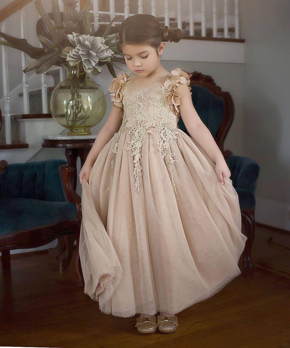 359dd87d7 Trish Scully Child Gold Bianca Gown - Toddler & Girls | Zulily