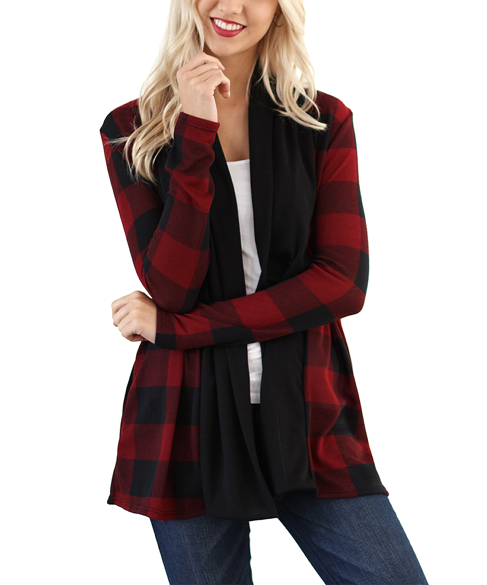 4232e2a21d 2 Pineapples Red   Black Buffalo Plaid Contrast-Panel Open Cardigan ...