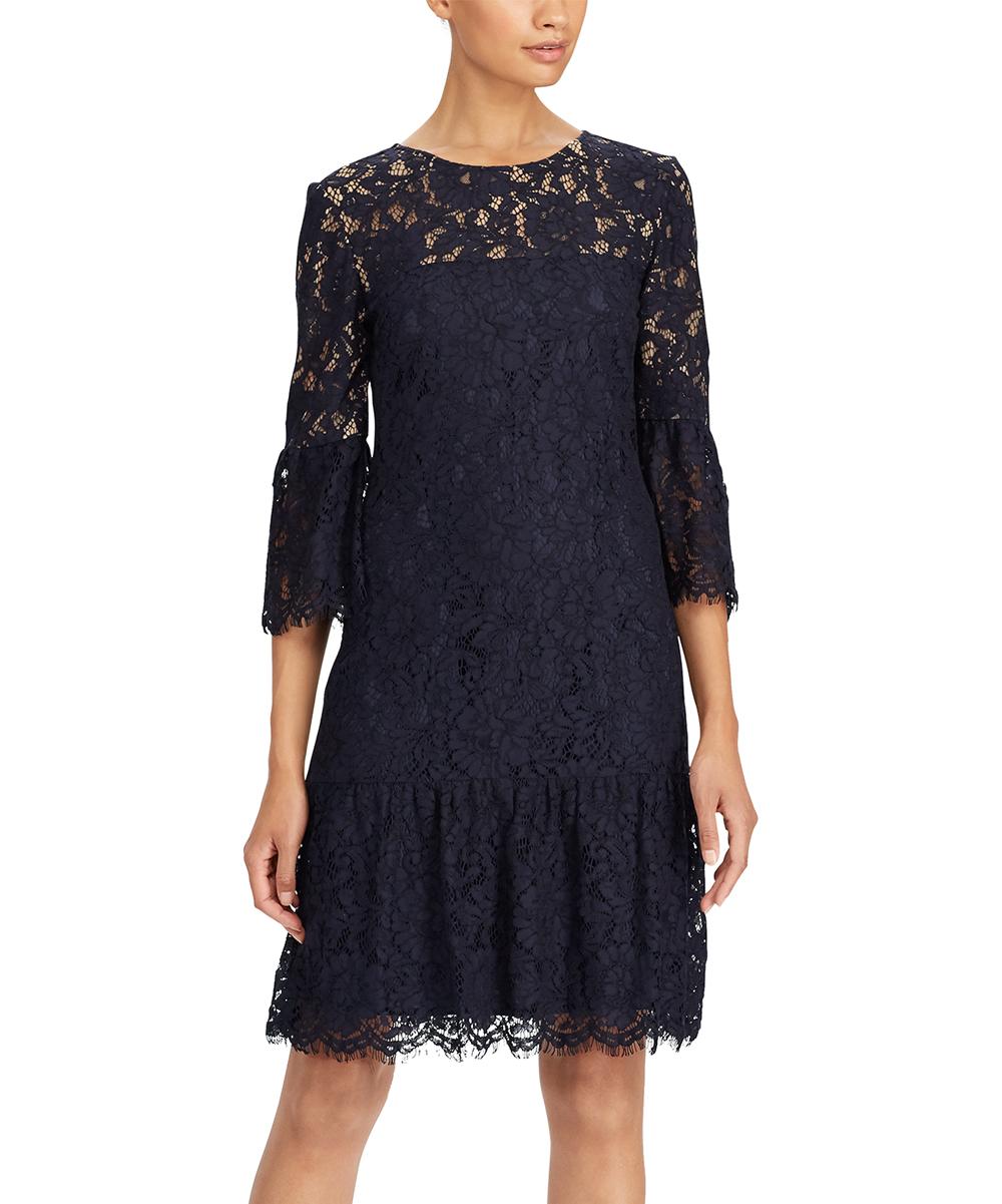 93316161 Lauren Ralph Lauren Navy & Wheat Lace Drop-Waist Dress - Women