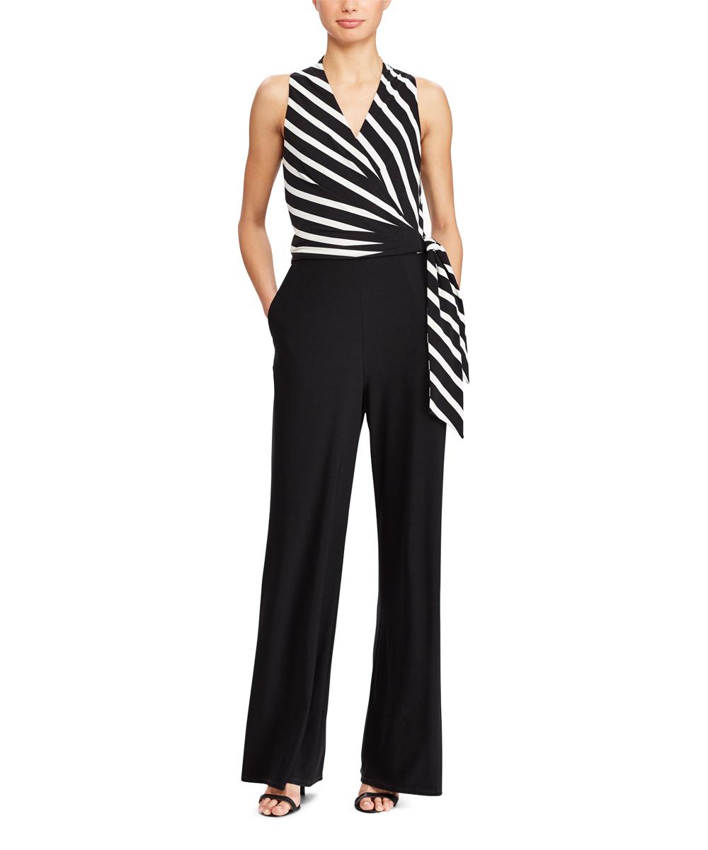 09d7770de9bd Lauren Ralph Lauren Black   Cream Matte Jersey Jumpsuit - Women