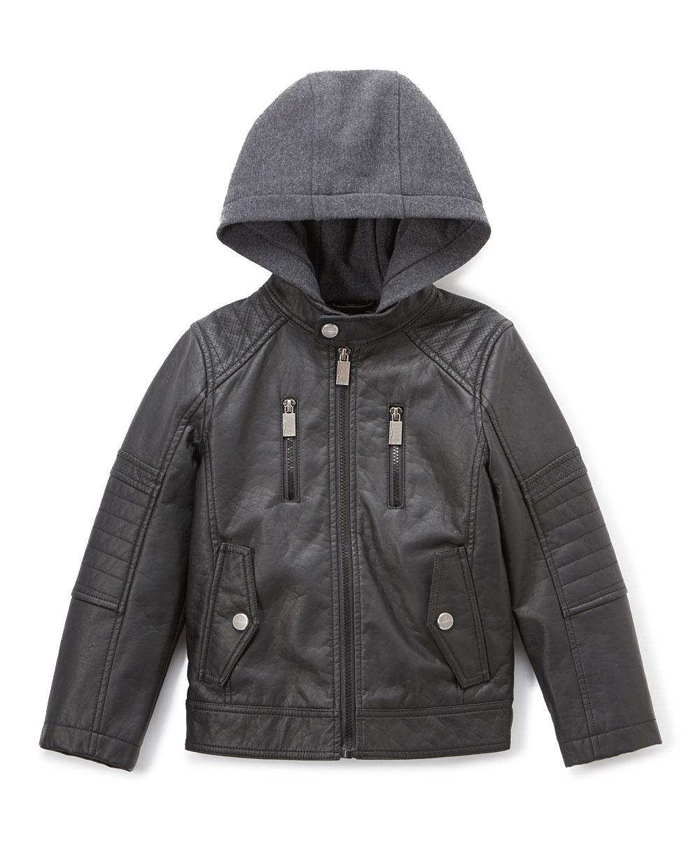 93d0e0c59793 Urban Republic Black Hooded Faux Leather Jacket - Boys