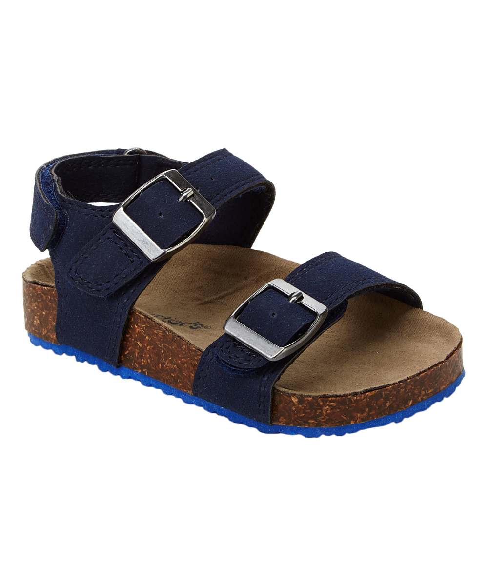 Carter/'s Baby Two Strap Navy Sandals with Cork Sole