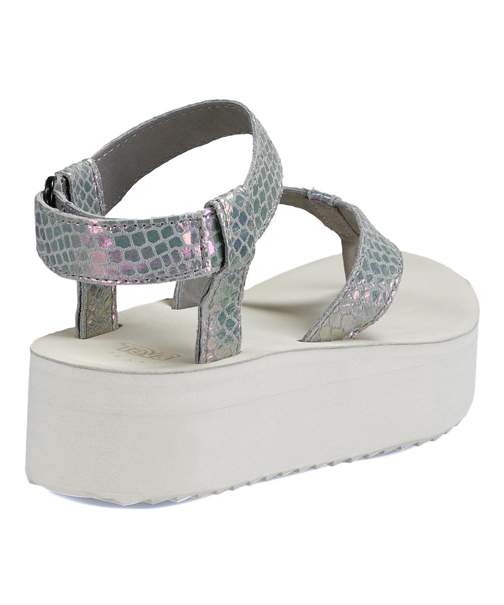 ba198734d91 all gone. Gray Iridescent Flatform Leather Sandal - Women
