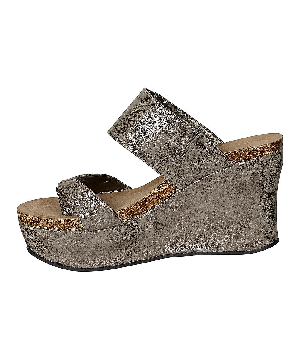 add571895e01 Pierre Dumas Pewter Hester Thong Wedge Sandal - Women