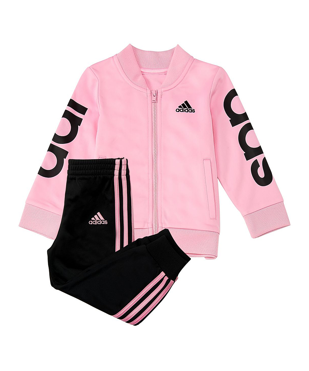 9ac939647 love this product Light Pink Linear Jacket & Black Track Pants - Toddler