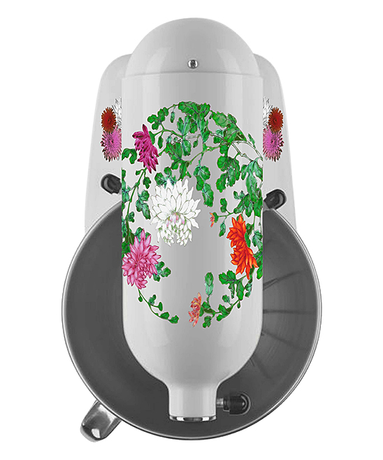 Chrysanthemum Garden Mixer Decal Set Chrysanthemum Garden Mixer Decal Set. Show your favorite countertop helper a little bit of love with the addition of colorful decals that bring personalized style to the kitchen. Mixer not includedFits 4- and 5-qt. mixersSheet: 6'' W x 9'' H x 1'' DPrinted adhesive vinyl