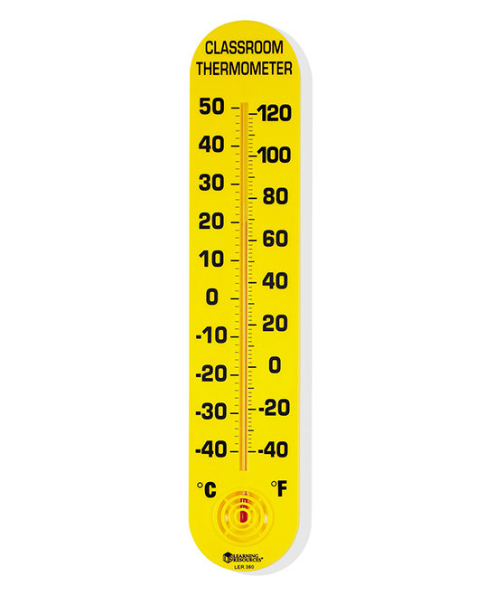 15  Classroom Thermometer 15  Classroom Thermometer. Teach temperatures and keep track of the level in your room with this durable thermometer.15'' HFahrenheit / CelsiusWall-mountablePlasticRecommended for ages 6 and upImported