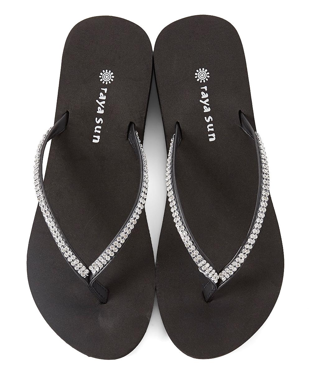e9b2a817ee0 Raya Sun Silver Fancy Rhinestone Wedge Flip-Flop - Women