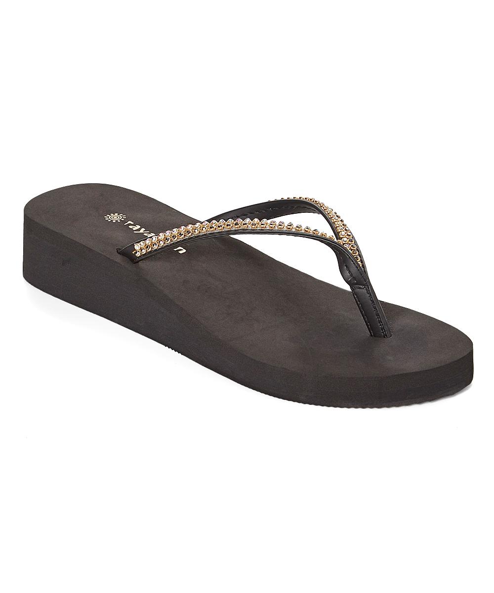 0adc3c643fce Raya Sun Gold Fancy Rhinestone Wedge Flip-Flop - Women