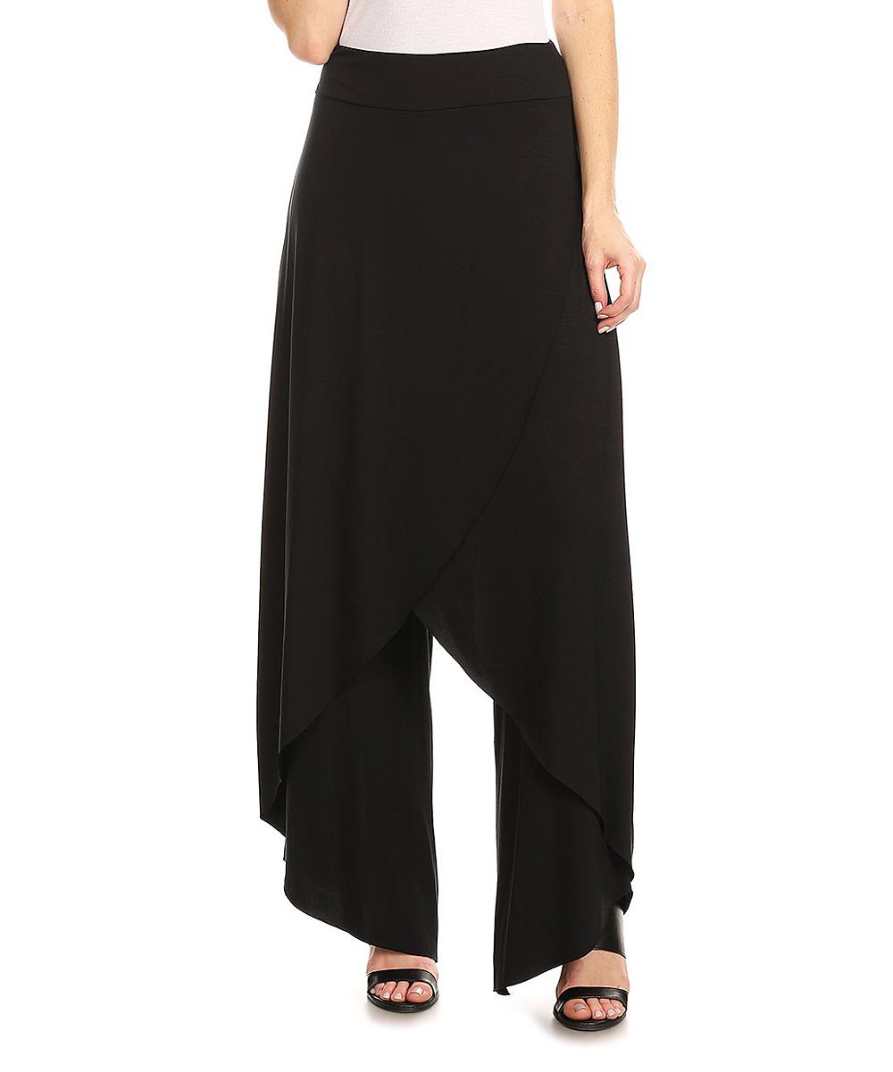 Karen T. Design Women's Casual Pants BLACK - Black Skirted Pants - Plus
