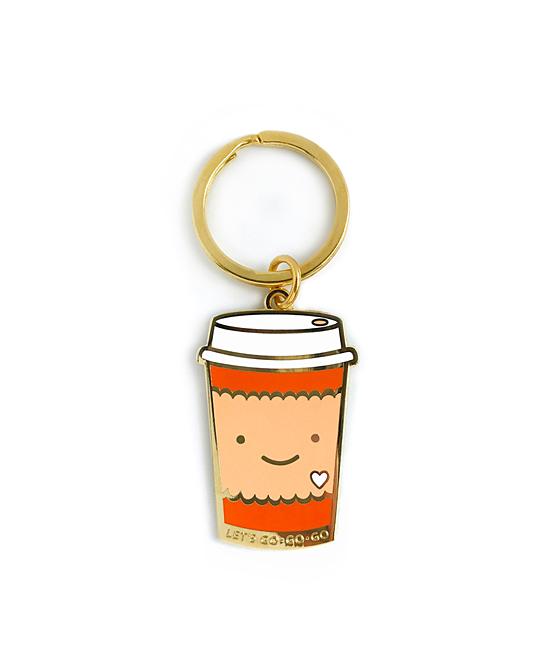 Night Owl Paper Goods  Key Chains  - Coffee To Go Enamel Key Chain