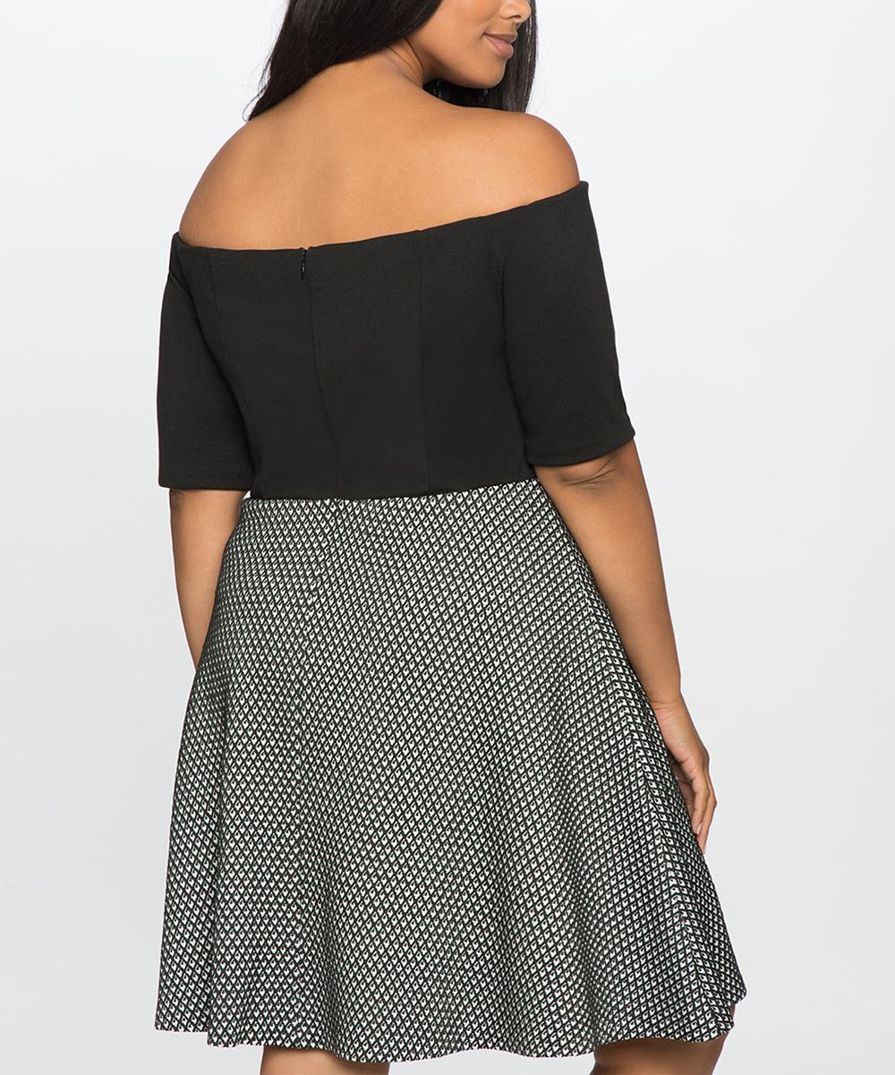 77f1568d7a3dd ELOQUII Black   White Mixed Media Off-Shoulder Dress - Plus
