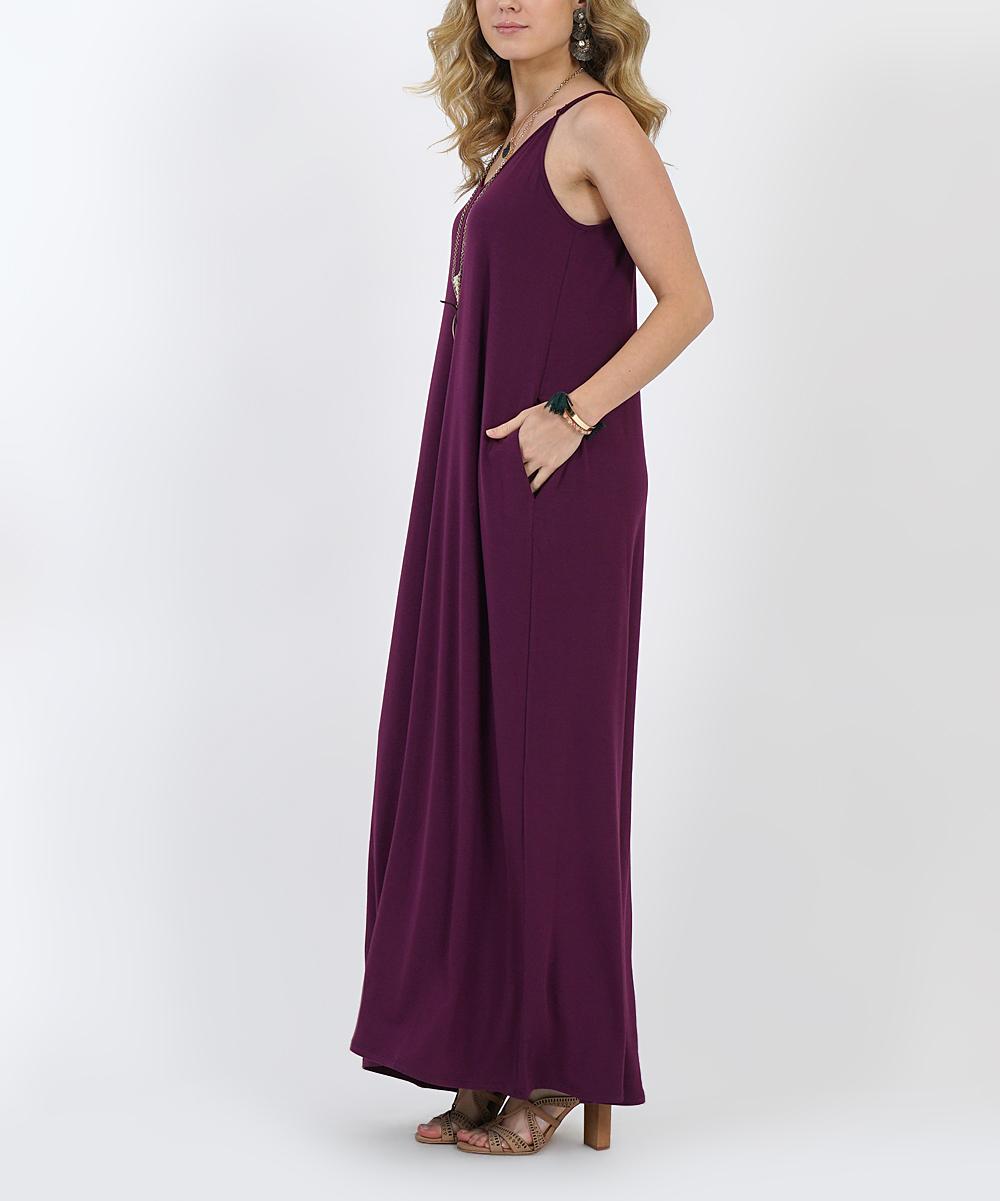 f764780c86cd ... Womens DK PLUM Dark Plum V-Neck Cami Side-Pocket Maxi Dress - Alternate  ...